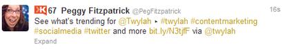 Peggy's trending tweet